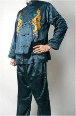 【カンフー服 上下セット】 竜刺繍・濃緑(L、XL、XXL)