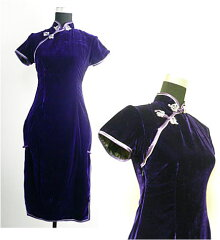 【チャイナドレスセミ】 ベルベット・紫(S、M、L、XL、XXL、XXXL)