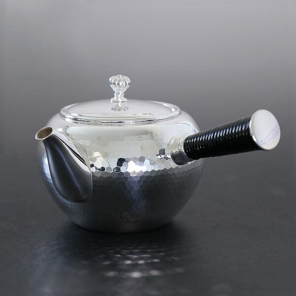 一守堂 純銀・横手急須 360cc手打ち鎚起模様 /銀瓶 茶器 茶道具 /ハロウィン is