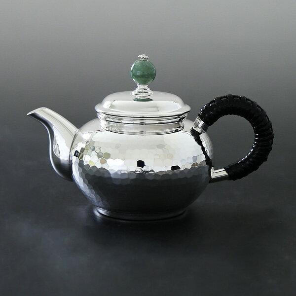 銀川堂 純銀 ウーロン茶ポット100cc 翡翠つまみ 重量約150g/ハロウィン
