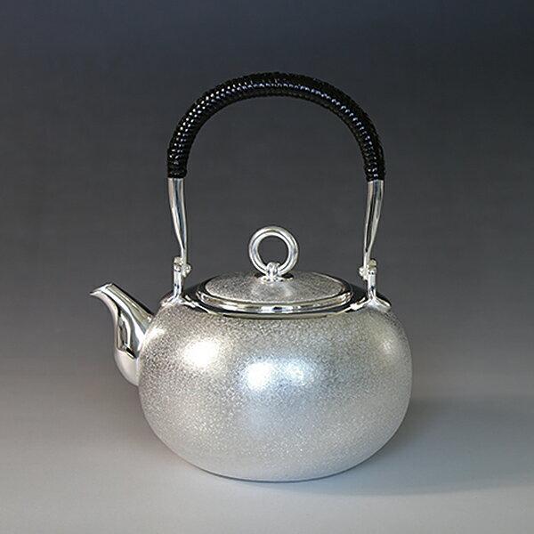 一守堂 純銀・湯沸し600cc梨地・S口・リングツマミ /銀瓶 茶器 茶道具/ハロウィン is