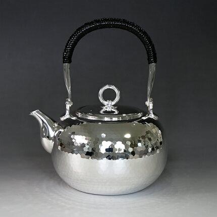 銀川堂/純銀/湯沸し600cc手打ち鎚起模様
