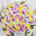 お好きな本数で選べる ソープフラワー花束 レインボーローズ 本数指定OK ローズ バラ 造花 フレグランス...