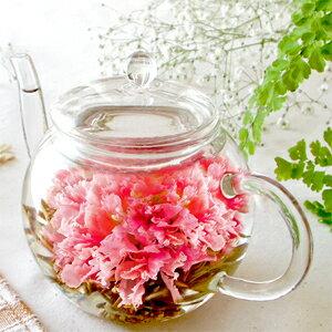 母の日ギフトお花のつぼみとティーポット誕生日女性バースデーお茶花あす楽カーネーション茶お茶工芸茶ギフト