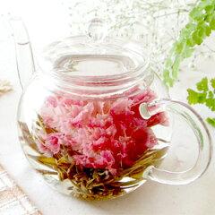 楽天年間ランキング花ジャンル3年1位 カーネーションのお茶【お花のつぼみとティーポットセット...