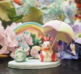 きれのはな/四季置き飾りうさぎシリーズ雨の日【かわいい置物うさぎ】