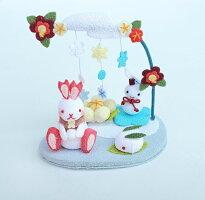 【きれのはな/雪やこんこん】かわいい置物うさぎ飾り手作り雪可愛い季節プレゼント縮緬生地ちりめん外国人小さい小物飾り四季冬メルヘン雪うさぎ雪だるま雪景色
