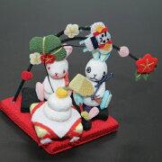 【きれのはな/お正月】かわいい置物うさぎ飾り手作り正月可愛い季節プレゼント縮緬生地ちりめん外国人小さい小物飾り四季冬メルヘン元旦凧揚げ賀正新年