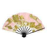 舞扇子飾り扇子踊り用京扇子金ホログラム色紙ちらし(ピンク)舞踊用