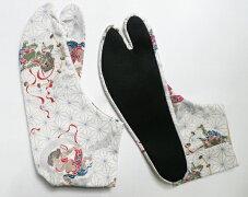 【25.0cm〜】麻の葉/風神雷神(白)4枚コハゼ柄足袋和柄日本製手づくり