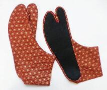 赤地に金の麻の葉4枚コハゼ柄足袋和柄日本製手づくり