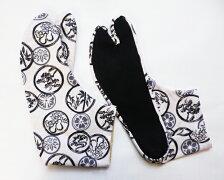 【25.0cm〜】丸に松竹(白地)4枚コハゼ柄足袋和柄日本製手づくり