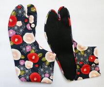 麻の葉とツバキ(紺)4枚コハゼ柄足袋和柄日本製手づくり