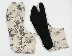 兎と蛙4枚コハゼ柄足袋和柄日本製手づくり