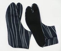 【25.0cm〜】よろけ縞(紺地)4枚コハゼ柄足袋和柄日本製手づくり