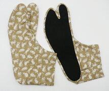 ねこ(ベージュ)4枚コハゼ柄足袋モダン猫柄日本製手づくり