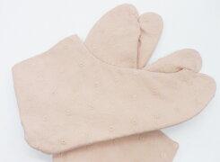 小花模様/レース(ピンク)4枚コハゼ底地:白レース足袋綿足袋手づくり日本製