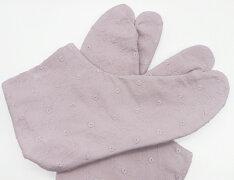 小花模様/レース(藤色)4枚コハゼ底地:白レース足袋綿足袋手づくり日本製