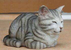 ねこの置物ガーデニングガーデンオーナメント置物オブジェインテリアかわいい雑貨樹脂猫ネコ動物ディスプレイ【香箱ねこミニ(グレー)】
