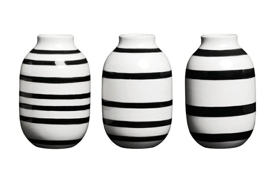KAHLERケーラー OMAGGIOオマジオ ベースミニ 3個セット ブラック【北欧雑貨 OMAGGIO 花瓶 デンマーク 陶器 モダン ペン立て 一輪挿し ボーダーデザイン 】