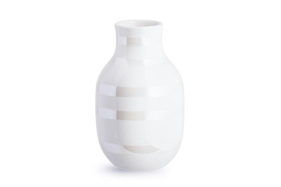 KAHLERケーラー OMAGGIOオマジオ フラワーベース Sサイズ パール【北欧雑貨 OMAGGIO 花瓶 デンマーク 陶器 モダン 小さめ 玄関 一輪挿し ボーダーデザイン 】