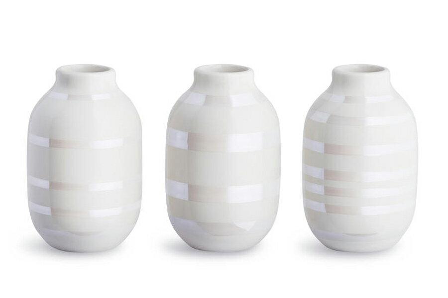 KAHLERケーラー OMAGGIOオマジオ ベースミニ 3個セット パール【北欧雑貨 OMAGGIO 花瓶 デンマーク 陶器 モダン ペン立て 一輪挿し ボーダーデザイン 】