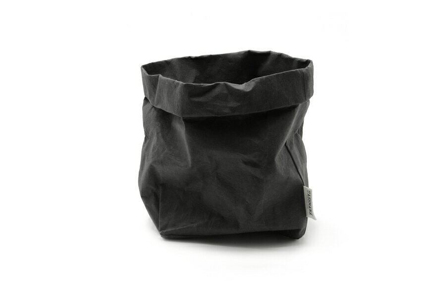 UASHMAMA セルロース 100% 洗えるペーパーバッグ Lサイズ モノクロ 21×15cm【イタリア製 ハンドメイド おしゃれ 収納袋 かご 果物 野菜 花 モノトーン ナチュラル 北欧 小物入れ】