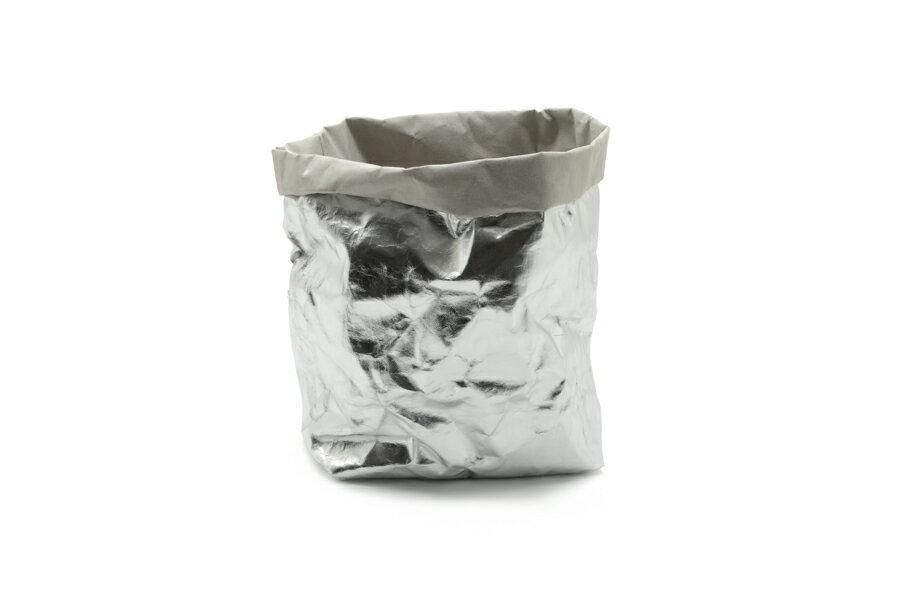 UASHMAMA セルロース 100% 洗えるペーパーバッグ Lサイズ メタリック 21×15cm【イタリア製 ハンドメイド おしゃれ 収納袋 かご 果物 野菜 花 モノトーン ナチュラル 北欧 小物入れ】