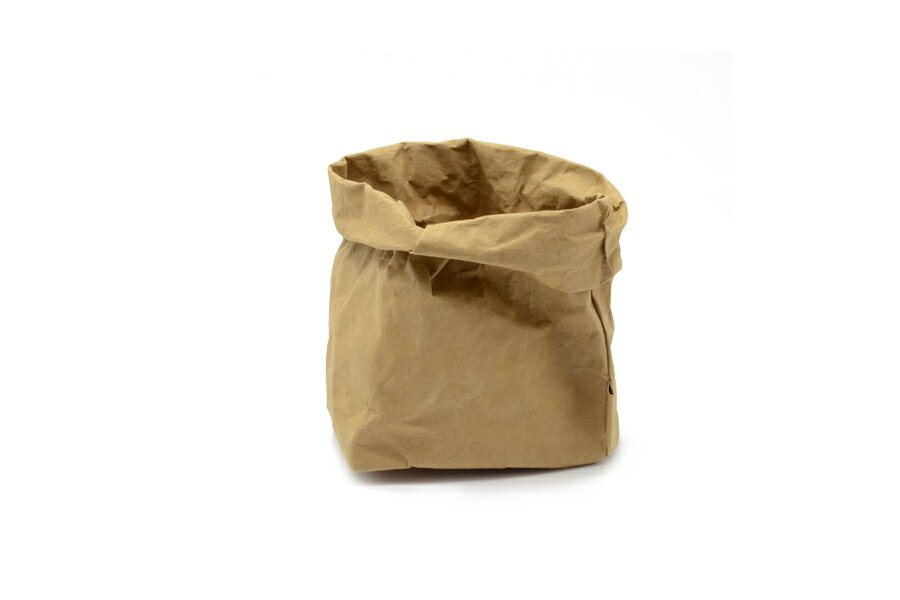 UASHMAMA セルロース 100% 洗えるペーパーバッグ Mサイズ モノクロ 18×12cm【イタリア製 ハンドメイド おしゃれ 収納袋 かご 果物 野菜 花 モノトーン ナチュラル 北欧 小物入れ】の写真