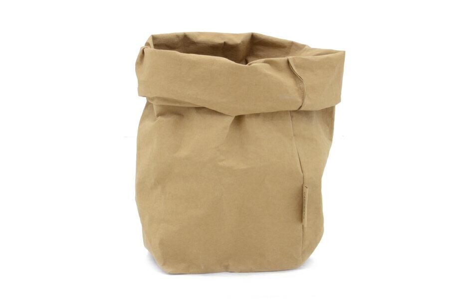 UASHMAMA セルロース 100% 洗えるペーパーバッグ XLサイズ モノクロ 24×24cm【イタリア製 ハンドメイド おしゃれ 収納袋 かご 果物 野菜 花 モノトーン ナチュラル 北欧 小物入れ】の写真