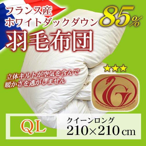 羽毛布団(フランス産ホワイトダックダウン85%)クイーンロング/キナリ