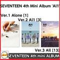 SEVENTEEN-(セブンティーン)4thMiniAlbum[Al1](Ver.1Alone[1])(Ver.2Al1[3])(Ver.3All[13])選択ポスター付きMINI4集CDalbumセブチ