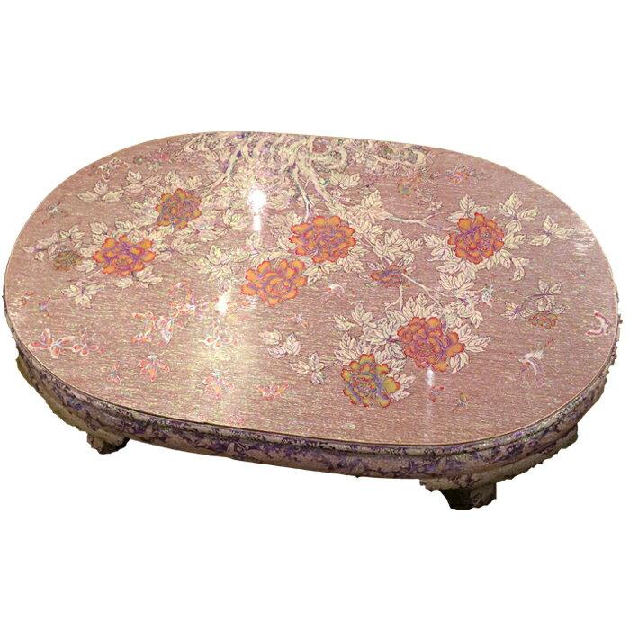 韓国高級螺鈿テーブル・楕円・牡丹図■oz-ra-1-s【ギフト】【お土産】【長寿祝】