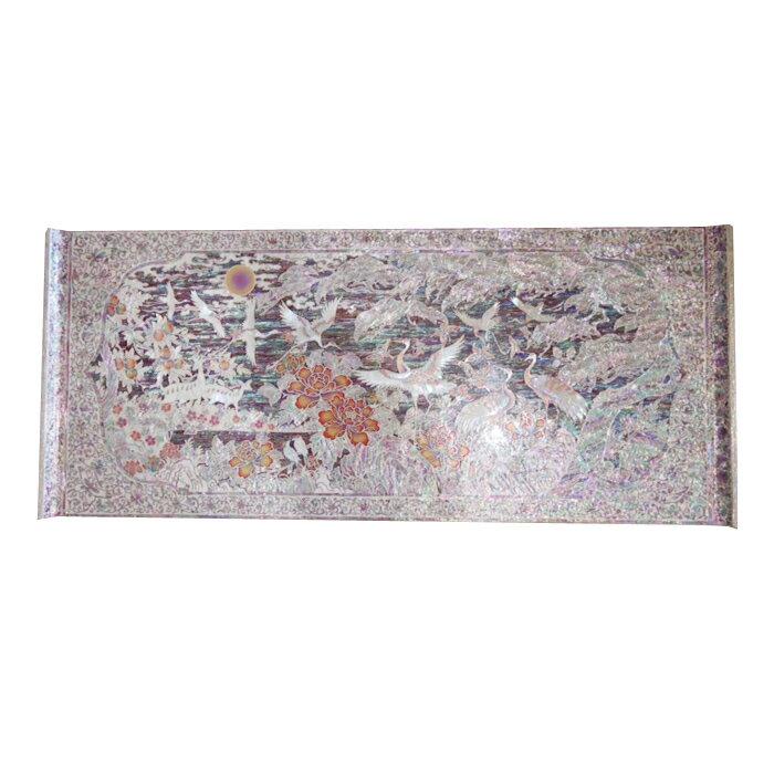 韓国高級螺鈿文机テーブル・鶴松図■oz-ra-3-s【ギフト】【お土産】【長寿祝】