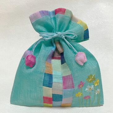 韓国ポーチ 刺繍入りチョガッポ巾着グリーン(中)■porch-91-s【ギフト】【お土産】【引き出物】