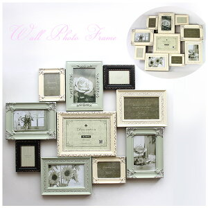 写真10枚♪ホワイト系 アンティーク調 デコレーション 10 ウォールフレーム = 送料無料 ...