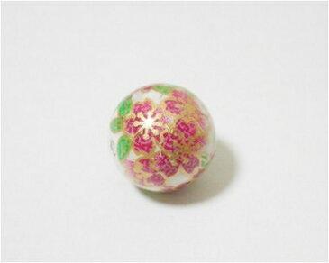 天然石プリントビーズ ハウライト12mm (ピンク桜) アクセサリーパーツ アクセサリー パワーストン ヒーリング 日本製