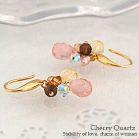 Cherry quartz drop earrings fs3gm