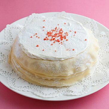 バレンタイン ケーキ ミルクレープ ホールケーキ ストロベリー いちご スイーツ ミルクレープホール 誕生日ケーキ 内祝い ギフト パーティー スイーツ 手作り もっちり食感の手作りミルクレープストロベリーミルクレープ1ホール