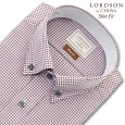 LORDSONbyCHOYASlimFit長袖ワイシャツメンズショートボタンダウンシャツ形態安定加工レッドチェックスリムフィット綿100%(cod081-615)