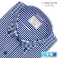 LORDSONbyCHOYA半袖ワイシャツメンズ夏形態安定加工ネイビーギンガムチェックボタンダウンシャツ 綿:100%ネイビー(con401-555)