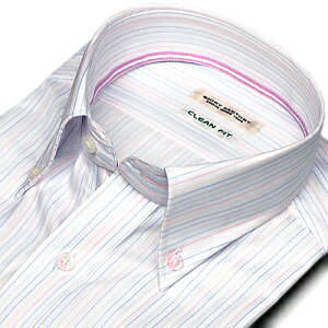 クリーンフィット【シャツファクトリー】長袖 ボタンダウン 白にサックスとピンクのストライプ ...