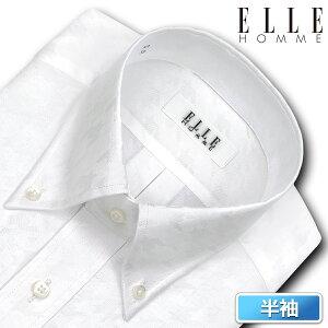 ELLE HOMME 半袖 ワイシャツ メンズ 夏 形態安定加工 ゆったり ジャガード 千鳥格子 ボタンダウンシャツ|綿:40% ポリエステル:60% ホワイト (zen540-203) 父の日