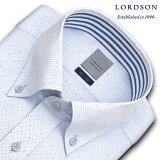 LORDSON 長袖 ワイシャツ メンズ 春夏秋 形態安定加工 吸水速乾 ブルーチェックドビー ボタンダウンシャツ|綿:100% ブルー(zod382-650)(190904ss)