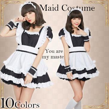 ハロウィン コスプレ 4点セット こすぷれ はろういん b2002 メイド服♪萌コス♪コスプレ♪コスチューム♪メイド 衣装