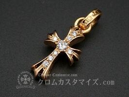 クロムハーツ/CHROMEHEARTSCHクロスベビーファットチャーム22K【アフターダイヤ】/ネックレス22Kゴールド天然ダイヤモンド/中古未使用品