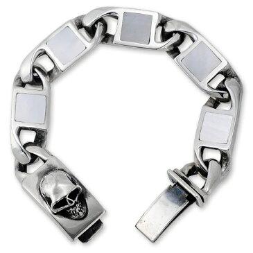 【STANLEY GUESS スタンリーゲス Bracelet ブレスレット】スクエアシェルブレスレット/クラシックスタイルw/スカルボックスクリップ【送料無料】