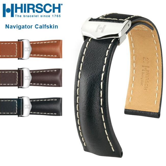 腕時計用アクセサリー, 腕時計用ベルト・バンド  HIRSCH Navigator Calfskin 18mm 20mm 22mm 24mm