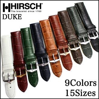◆ HIRSCH Duke Hirsch Duke alligator type press leather watch, watch belts, watch bands 16 mm18mm