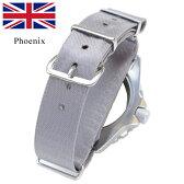 時計 腕時計 ベルト 時計バンド イギリス Phoenix フェニックス社製 NATO軍G10 正規 イタリアンシルク 18mm 英国製 グレー